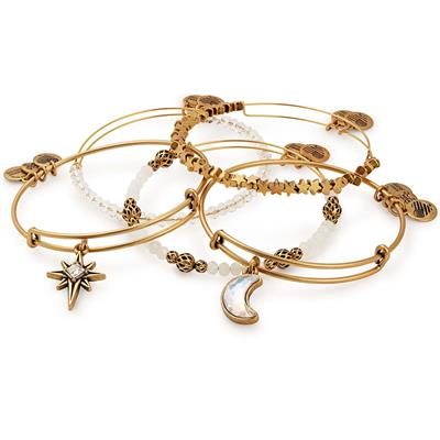Buy Alex and Ani Moon and Star Set of 5 in Rafaelian Gold