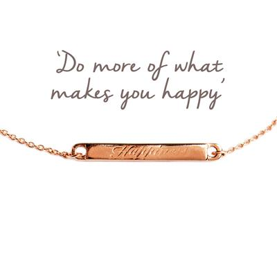 Buy Happiness Mantra Bar Bracelet in Rose Gold