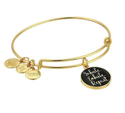 Buy Alex and Ani Inhale Exhale Repeat Colour Infusion Bangle in Shiny Gold