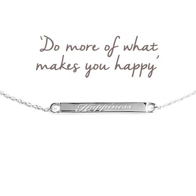 Buy Happiness Mantra Bar Bracelet in Silver
