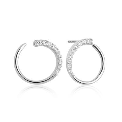 Buy Sif Jakobs Silver Portofino Loop Earrings with White CZ