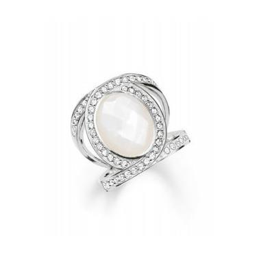 Buy Thomas Sabo Mother of Pearl & CZ Ring Sterling Silver Size 52