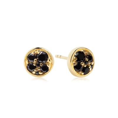 Buy Sif Jakobs Gold Novara Piccolo Stud Earrings with Black CZ
