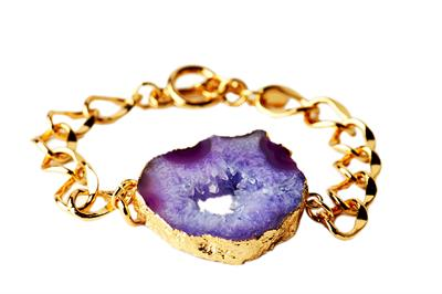 Buy Druzy Purple Agate Sliced Bracelet