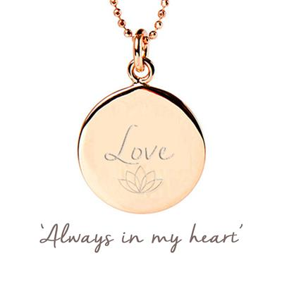 Buy Mantra Love Disc Necklace in Rose Gold