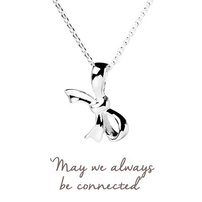 Buy Family & Friends Bow Mantra Necklace in Silver