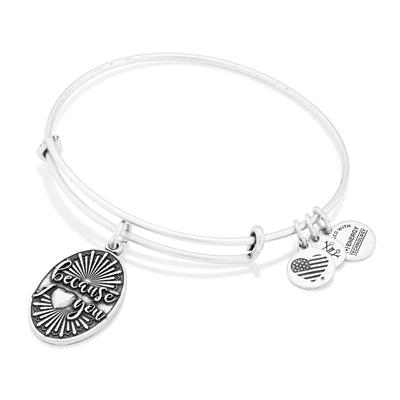 Buy Alex and Ani Because I Love You bangle in Rafaelian Silver Finish