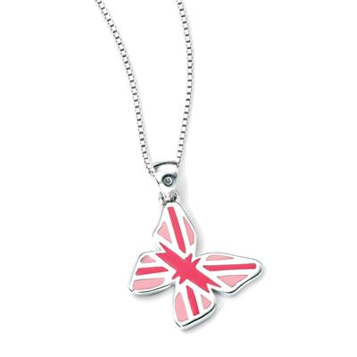 Buy DforDiamond Pink Union Jack Butterfly Children's Pendant