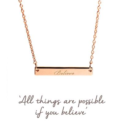 Buy Believe Mantra Bar Necklace in Rose Gold