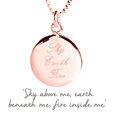 Buy Sky Earth Fire Mantra Necklace in Rose Gold