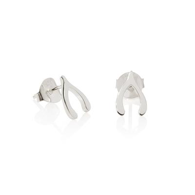 Buy Daisy Wishbone Good Karma Silver Stud Earrings