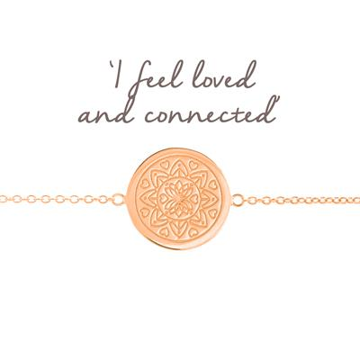 Buy Mantra Love Mandala Disc Bracelet in Rose Gold