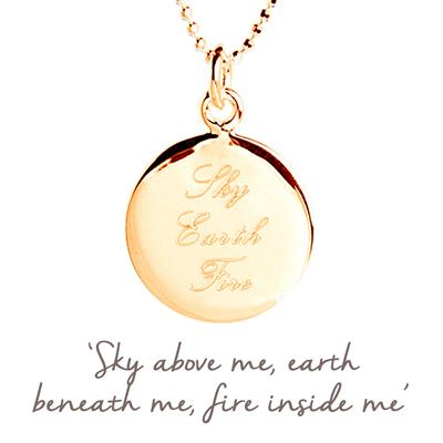 Buy Sky Earth Fire Mantra Necklace in Gold