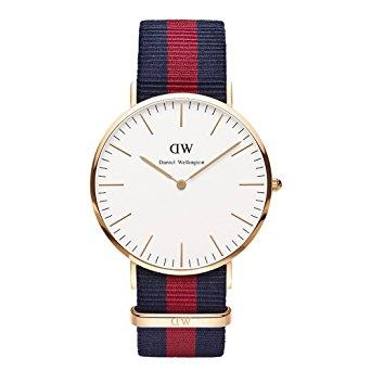 Buy Daniel Wellington Oxford Navy/Red Nato Strap Watch in Rose Gold