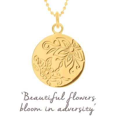 Buy Mantra Bloom Flower Disc Necklace in Gold