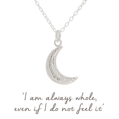 Buy Mantra Crescent Moon Necklace in Sterling Silver