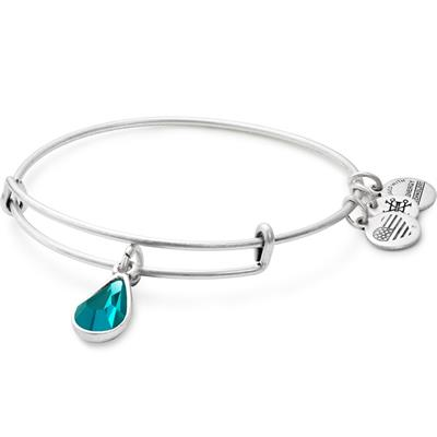 Buy Alex and Ani December Blue Zircon Birthstone bangle in Rafaelian Silver Finish