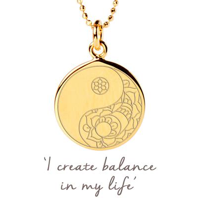 Buy Mantra Balance Yin Yang Disc Necklace in Gold