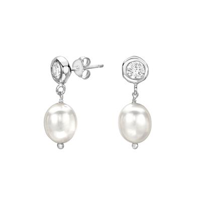 Buy Dower and Hall White Topaz and White Pearl Dewdrop Earrings