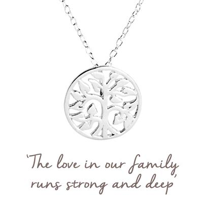 Buy Family Tree Mantra Necklace in Silver
