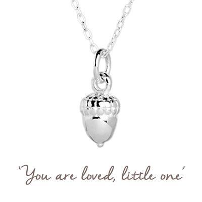Buy Acorn Mantra Necklace in Silver