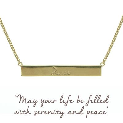 Buy Peace Bar Mantra Necklace in Gold