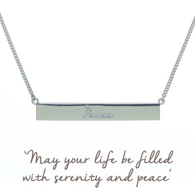 Buy Peace Bar Mantra Necklace in Sterling Silver