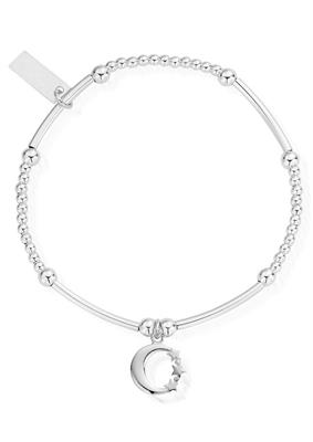 Buy ChloBo Silver Cute Moon and Stars Bracelet