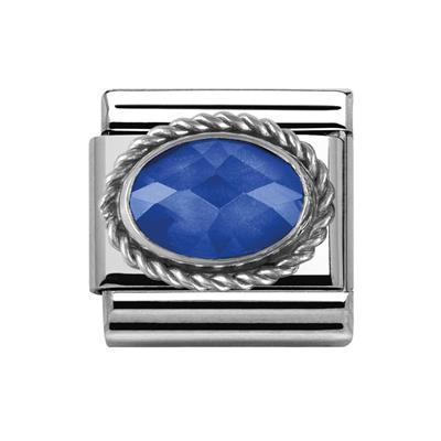 Buy Nomination Dark Blue Faceted CZ With Silver Frill