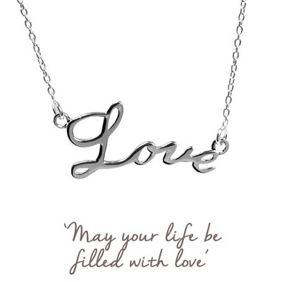 Buy Mantra Love Script Necklace in Silver