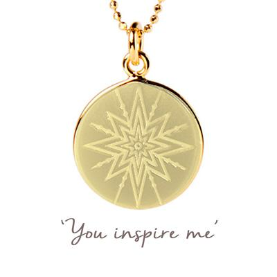 Buy Mantra You Inspire Me Disc Necklace in Gold