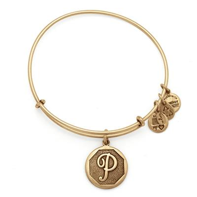 Buy Alex and Ani P Initial Bangle in Rafaelian Gold