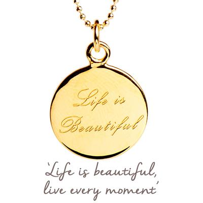 Buy Life is Beautiful Mantra Necklace in Gold