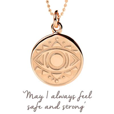 Buy Mantra Evil Eye Disc Necklace in Rose Gold