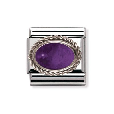 Buy Nomination Amethyst and Silver Frill Oval Stone