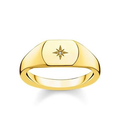 Buy Thomas Sabo Gold Vintage Star Diamond Signet Ring 52
