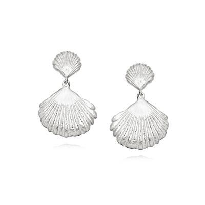 Buy Daisy Silver Double Shell Earrings