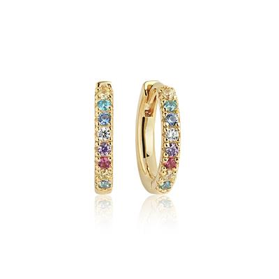 Buy Sif Jakobs 18k Gold Plated Ellera Hoop Earrings with Multicoloured Zirconia
