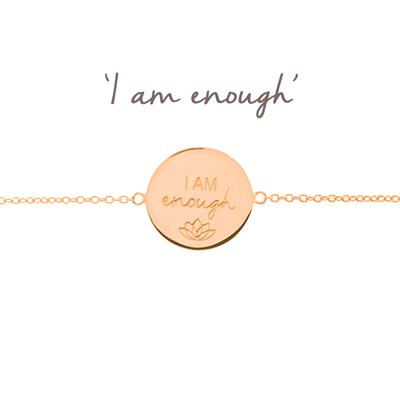 Buy Mantra I Am Enough Disc Bracelet in Rose Gold