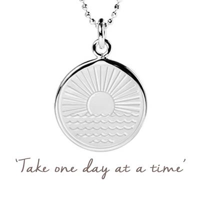 Buy Mantra One Day at a Time Sunrise Necklace in Sterling Silver