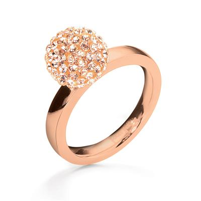 Buy Folli Follie Rose Gold Champagne Crystal Ball Ring 54
