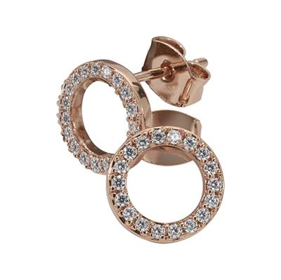 Buy Nikki Lissoni Rose Gold Cubic Zirconia Stud Earrings 10mm