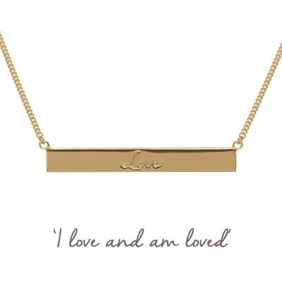 Buy Mantra Love Bar Necklace in Gold