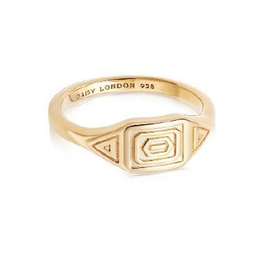 Buy Daisy Artisan Stamped Ring, Gold-plated Silver, Medium