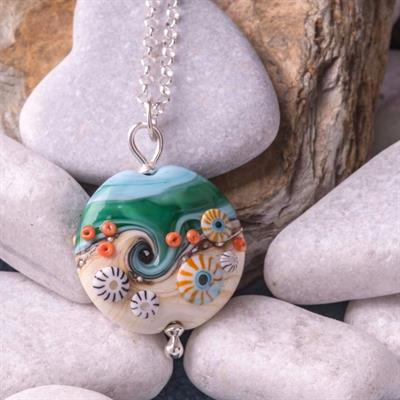 Buy Beach Art Glass Sea & Sand Lentil Necklace