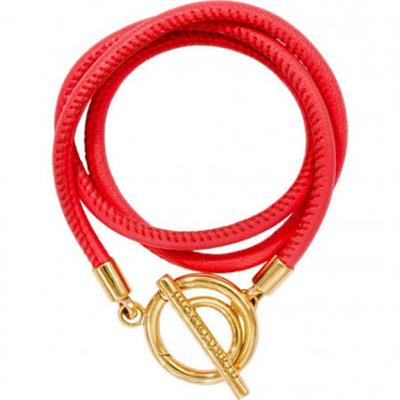 Buy Nikki Lissoni Coral and Gold Leather Wrap Bracelet 17cm