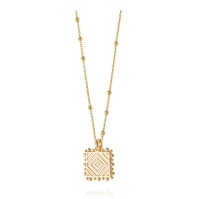 Buy Daisy Artisan Square Stamped Necklace, Gold-plated Silver