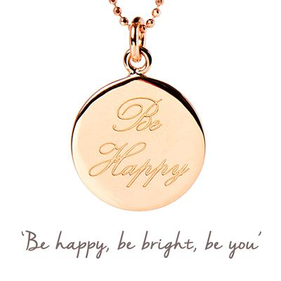 Buy Be Happy Mantra Necklace in Rose Gold