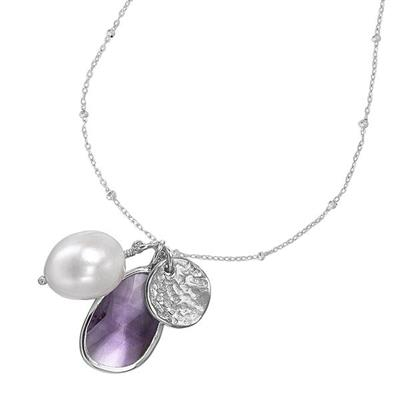Buy Dower and Hall Sterling Silver Amethyst and White Pearl Necklace