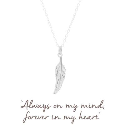 Buy Mantra Feather Necklace in Sterling Silver